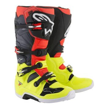 Bottes Alpinestars Tech 7 Yellow Fluo/Red Fluo/Gray/Black 7 (40.5)