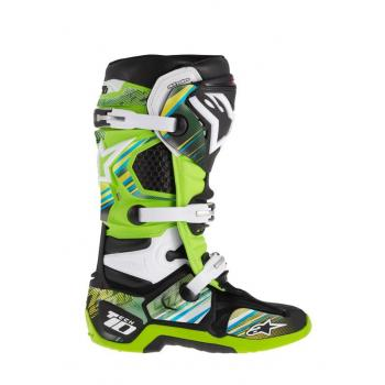 Kit Deco Bottes Alpinestars Tech 10 (2014) Jaune Vert Cyan L/XXL