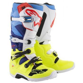 Bottes Alpinestars Tech 7 Yellow Fluo/White/Blue/ Cyan 7 (40.5)