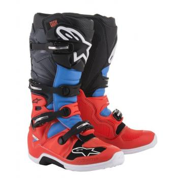 Bottes Alpinestars Tech 7 Red Fluo/Cyan/Gray/Black 11 (45.5)