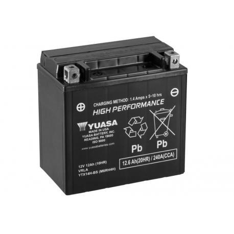 Batterie YUASA YTX14H-BS sans entretien livrée avec pack acide