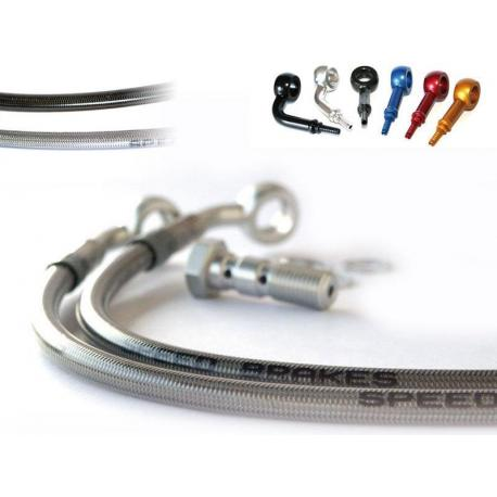 Durite de frein avant SPEEDBRAKES inox/raccord bleu HARLAY-Harley-Davidson 883 Iron/Sportster