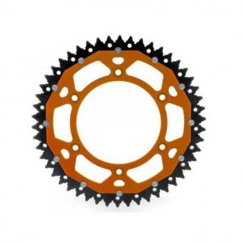 Couronne ART Bi-composants 51 dents aluminium/acier ultra-light anti-boue pas 520 type 897 orange