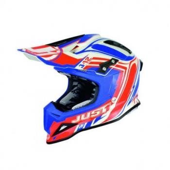 Casque JUST1 J12 Flame Red/Blue taille XL