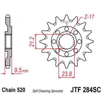 Pignon JT SPROCKETS 13 dents acier anti-boue pas 520 type 284SC