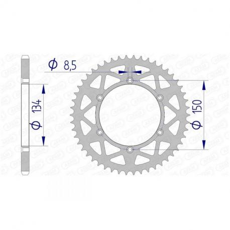 Couronne AFAM 52 dents alu ultra-light pas 520 type 17206N