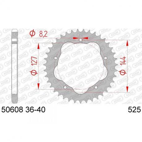 Couronne AFAM 43 dents acier standard pas 525 type 50608K