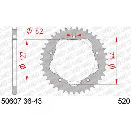 Couronne AFAM 37 dents acier standard pas 520 type 50607