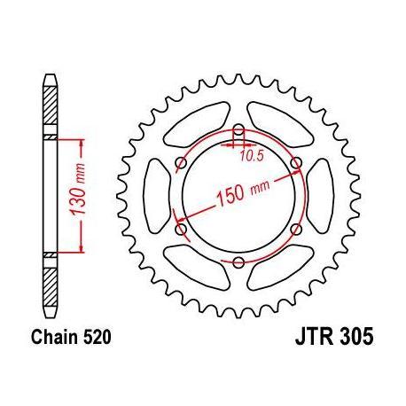 Couronne JT SPROCKETS 46 dents acier ultra-light anodisé dur pas 520 type 305