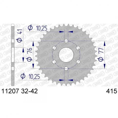 Couronne AFAM 37 dents alu ultra-light pas 415 type 11207