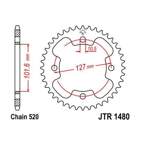 Couronne JT SPROCKETS 38 dents acier standard pas 525 type 1480
