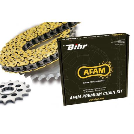 Kit chaine AFAM 420 type MX (couronne ultra-light anti-boue) KAWASAKI KX80 (BIG WHEELS)
