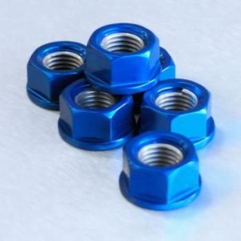 Ecrou de couronne M110X1,25 Pro-bolt alu bleu par 6