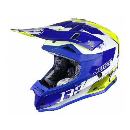 Casque JUST1 J32 Pro Kick White/Blue/Yellow Gloss taille L