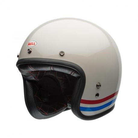 Casque BELL Custom 500 Stripes Pearl blanc taille M