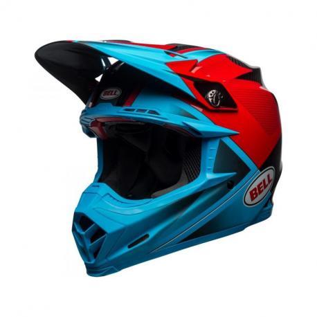 Casque BELL Moto-9 Flex Gloss/Matte Cyan/Red Hound taille S