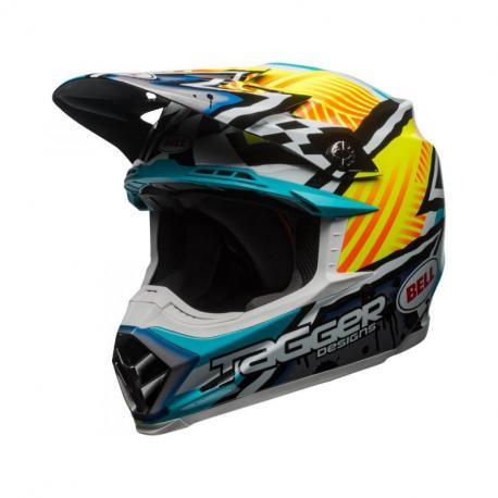 Casque BELL Moto-9 MIPS Tagger Gloss Yellow/Blue/White Assymetric taille XS