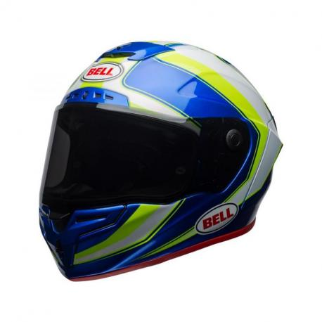 Casque BELL Race Star Gloss White/HI-VIZ Green/Blue Sector taille XL