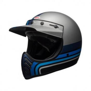 Casque BELL Moto-3 Matte Silver/Black/Blue Stripes taille S