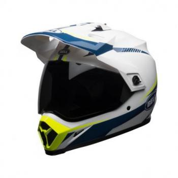 Casque BELL MX-9 Adventure MIPS Gloss White/Blue/Yellow Torch taille XXL